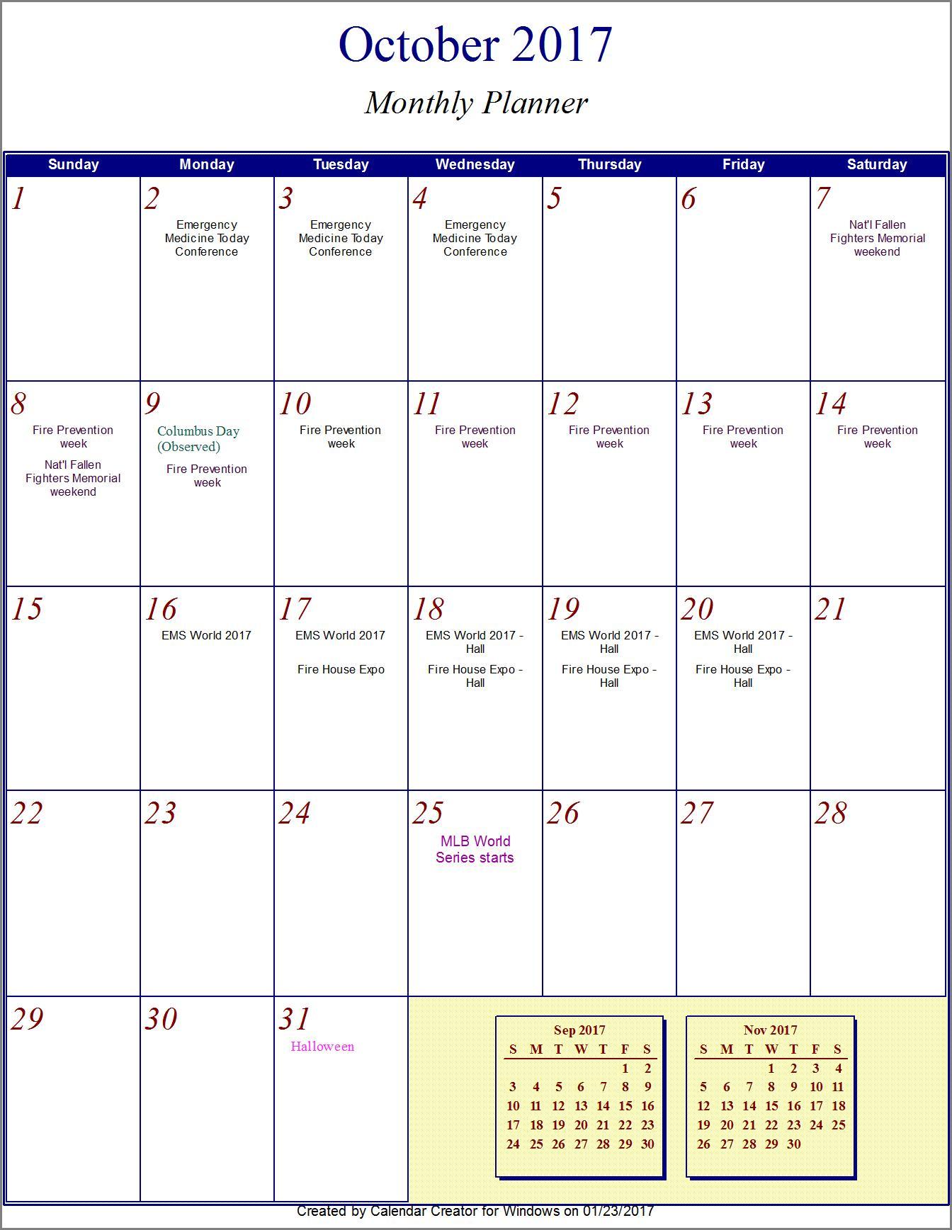 2017 Calendar October Through December